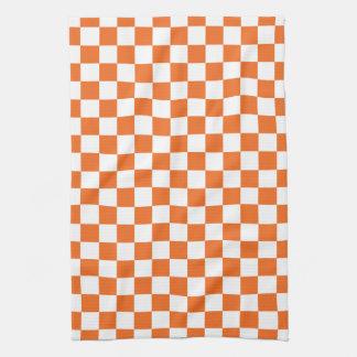 Orange Checkerboard Kitchen Towel