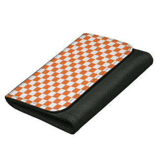 Orange Checkerboard Leather Wallet For Women
