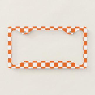 Orange Checkerboard License Plate Frame