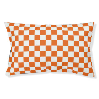 Orange Checkerboard Pet Bed