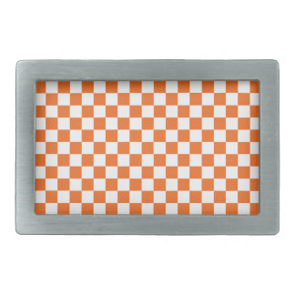 Orange Checkerboard Rectangular Belt Buckle