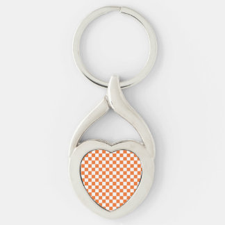 Orange Checkerboard Silver-Colored Twisted Heart Keychain
