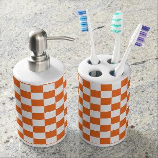 Orange Checkerboard Soap Dispenser And Toothbrush Holder