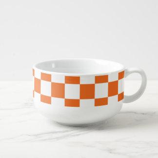 Orange Checkerboard Soup Mug