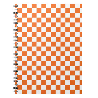 Orange Checkerboard Spiral Notebook