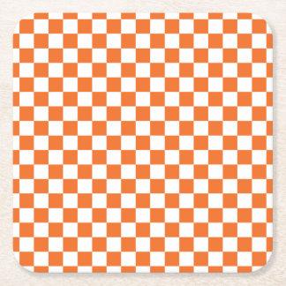 Orange Checkerboard Square Paper Coaster