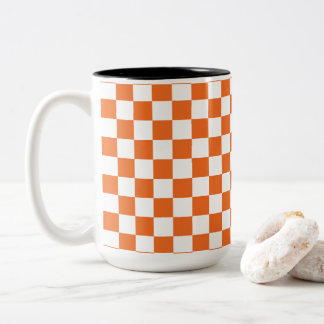 Orange Checkerboard Two-Tone Coffee Mug
