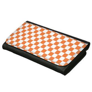 Orange Checkerboard Wallet For Women