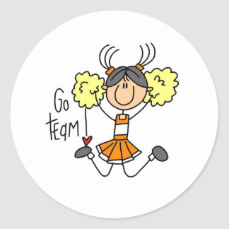 Orange Cheerleader Classic Round Sticker
