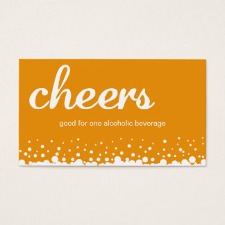 Orange cheers bubble wedding custom drink ticket