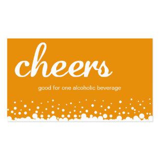 Orange cheers bubble wedding custom drink ticket business card