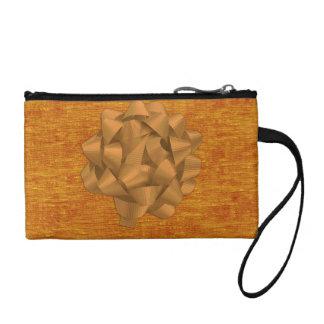 Orange Chenille Fabric and Big Bow Change Purses