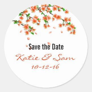 Orange Cherry Blossom Save the Date Round Stickers
