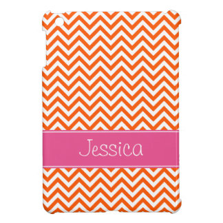 Orange Chevron Chic Pink Personalized iPad Mini Case