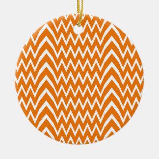 Orange Chevron Illusion Ceramic Ornament