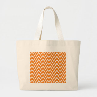 Orange Chevron Illusion Large Tote Bag