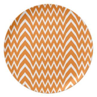 Orange Chevron Illusion Plate