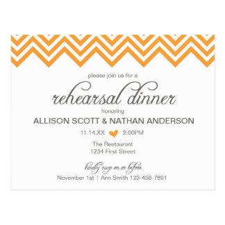 Orange Chevron Rehearsal Dinner Invite Postcard