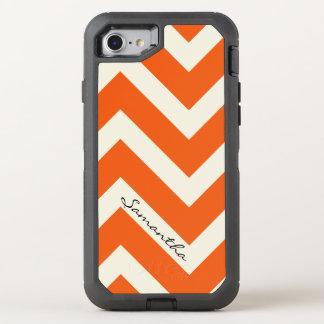 Orange Chevron Stripes with Monogram OtterBox Defender iPhone 7 Case