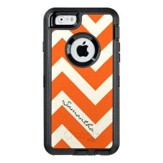 Orange Chevron Stripes with Monogram OtterBox Defender iPhone Case