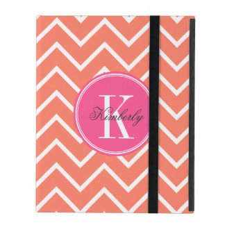 Orange Chevron with Pink Monogram iPad Cover