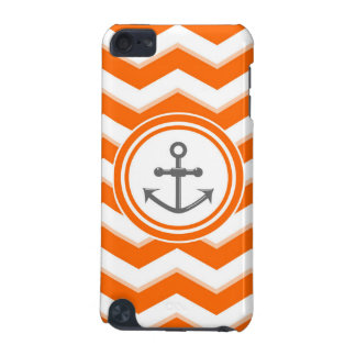 Orange Chevron Zigzag Pattern Anchor Smile iPod Touch 5G Covers