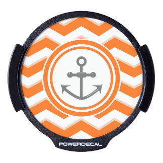 Orange Chevron Zigzag Pattern Anchor Smile LED Auto Decal