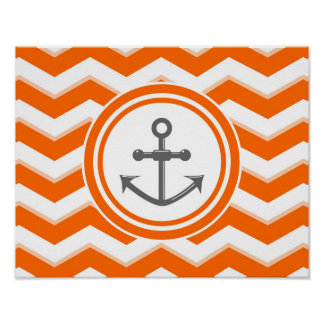 Orange Chevron Zigzag Pattern Anchor Smile Poster