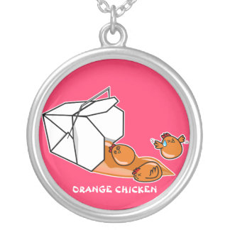 Orange Chicken Escape Silver Plated Necklace
