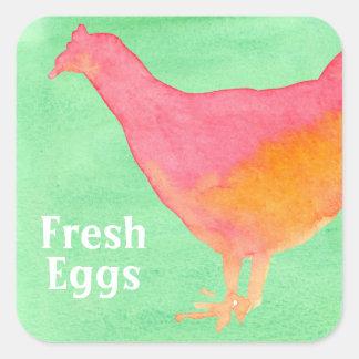 Orange Chicken Lime Green Fresh Eggs Square Sticker