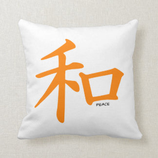 Orange Chinese Peace Sign Throw Pillow