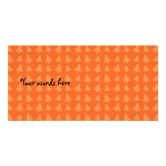Orange christmas trees pattern card