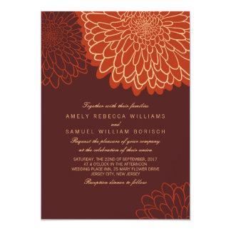 Orange Chrysanthemum Brown Autumn Wedding Invite