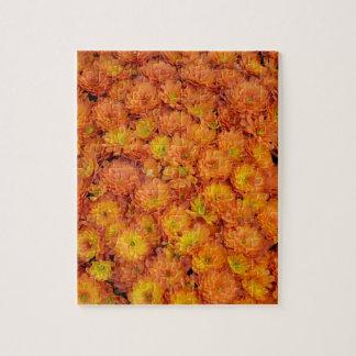 Orange chrysanthemum flowers pattern puzzles
