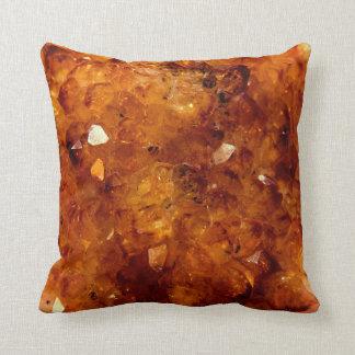 Orange Citrine Gems Throw Pillow