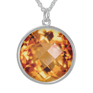 Orange Citrine Sterling Silver Necklace