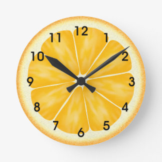 Orange Citrus Fruit Slice Round Clock