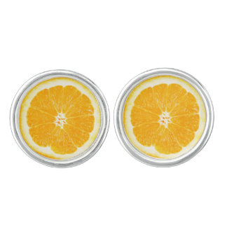 Orange Citrus Fruit Slice Yellow Cufflinks