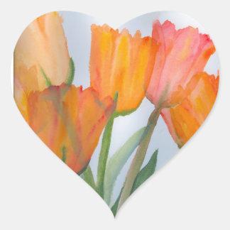 Orange Citrus Tulips Heart Sticker