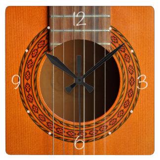 Orange classique de guitare bronzage horloge