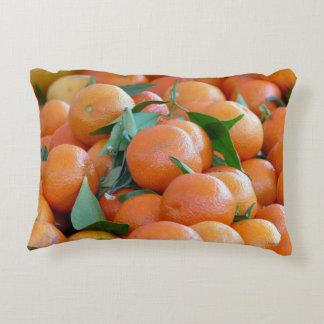 Orange clementines, tangerines wild duck green accent pillow