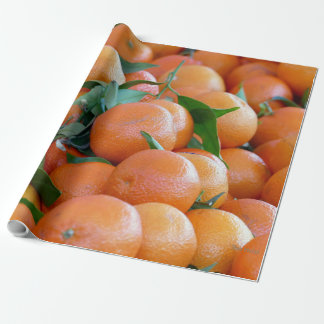 Orange clementines, tangerines wild duck green wrapping paper