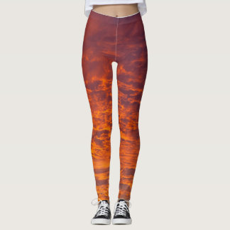 Orange clouds leggings