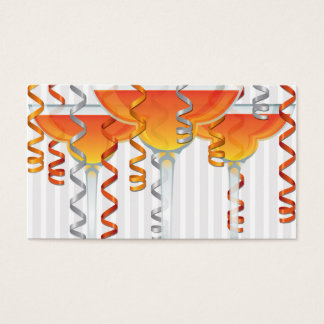 Orange cocktail and ribbon business card