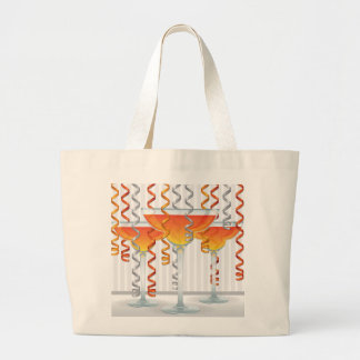 Orange  cocktail and ribbon large tote bag