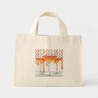 Orange  cocktail and ribbon mini tote bag