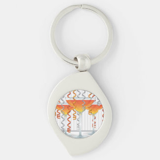 Orange  cocktail and ribbon Silver-Colored swirl keychain