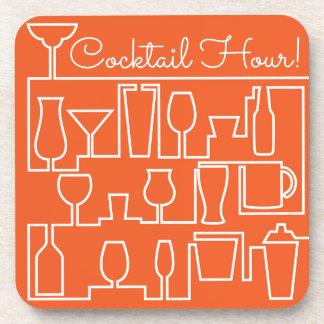 Orange cocktail party coaster