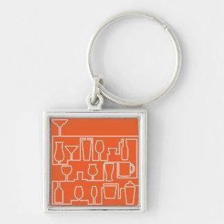 Orange cocktail party keychain