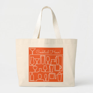 Orange cocktail party large tote bag